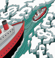 Business people on icebreaker leading through dollar and pound waterway