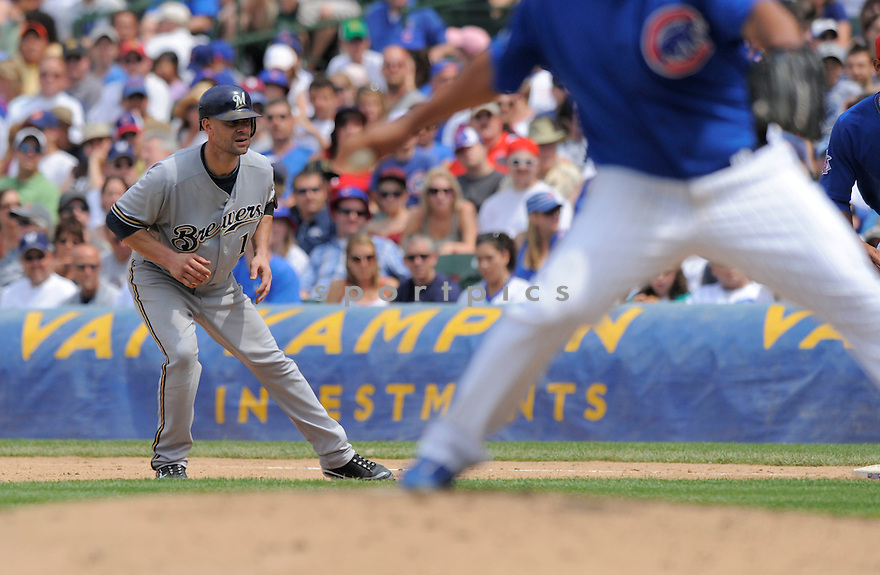 JASON KENDALL, of the Milwaukee Brewers, in action during the Brewers game against the Chicago Cubs on July 3, 2009 at Wrigley Field in Chicago, IL.  The Cubs win 2-1.