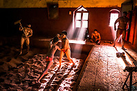 Kushti wrestlers train at Gangavesh Talim on the 18th of September, 2017 in Kolhapur, India.  <br /> Photo Daniel Berehulak for Lumix