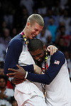 United State´s Irving and Plumlee pose with the golden medal during FIBA Basketball World Cup Spain 2014 final award ceremony after winning against Serbia at `Palacio de los deportes´ stadium in Madrid, Spain. September 14, 2014. (ALTERPHOTOSVictor Blanco)