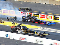 Jul 10, 2016; Joliet, IL, USA; NHRA top fuel driver Tony Schumacher (near) against Pat Dakin during the Route 66 Nationals at Route 66 Raceway. Mandatory Credit: Mark J. Rebilas-USA TODAY Sports