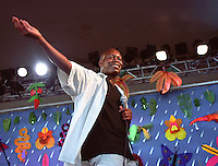 Julien Jacob.<br /> Benin singer, musician, songwriter, poet and novelist.<br /> WOMAD Festival, Reading, England, July 2003.