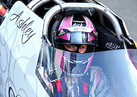Aug. 2, 2014; Kent, WA, USA; NHRA top alcohol dragster driver Ashley Sanford during qualifying for the Northwest Nationals at Pacific Raceways. Mandatory Credit: Mark J. Rebilas-USA TODAY Sports