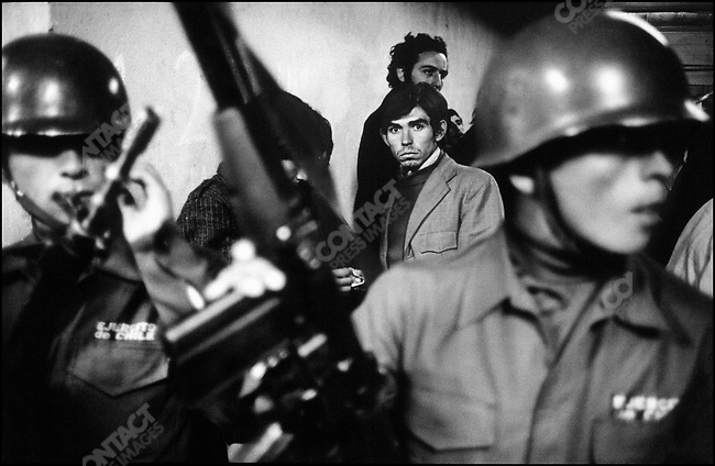 Daniel Cespedes, a young man suspected of being a leftist in the basement of the National Stadium after his arrest by the army following a military coup. Santiago, Chile, September 22, 1973