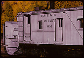 Close-up, front end of Rotary OM, Chama yards.<br /> D&amp;RGW  Chama, NM
