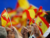 6th January 2020; RAC Arena, Perth, Western Australia; ATP Cup Australia, Perth, Day 4; Spain versus Uruguay; Spanish supporters wave their flags during the Nadal Cuevas match - Editorial Use