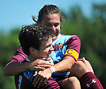 DeSmet's Nick Grewe (right) leaped into the arms of teammate Thomas Redmond after Redmond scored the second gaol against Francis Howell Central. Grewe had scored the first goal for DeSmet on a penalty kick. DeSmet defeated Francis Howell Central 2-1 on Saturday September 14, 2019.<br /> Tim Vizer/Special to STLhighschoolsports.com