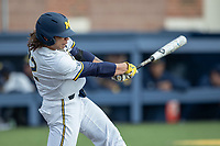 Michigan Wolverines first baseman Jordan Brewer (22) swings the bat against the Western Michigan Broncos on March 18, 2019 in the NCAA baseball game at Ray Fisher Stadium in Ann Arbor, Michigan. Michigan defeated Western Michigan 12-5. (Andrew Woolley/Four Seam Images)