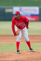 AZL Angels relief pitcher Yoel De Leon (71) looks in for the sign during an Arizona League game against the AZL Diamondbacks at Tempe Diablo Stadium on July 16, 2018 in Tempe, Arizona. The AZL Diamondbacks defeated the AZL Angels by a score of 4-3. (Zachary Lucy/Four Seam Images)