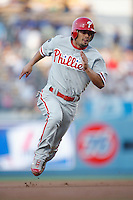 Shane Victorino of the Philadelphia Phillies during a game against the Los Angeles Dodgers in a 2007 MLB season game at Dodger Stadium in Los Angeles, California. (Larry Goren/Four Seam Images)