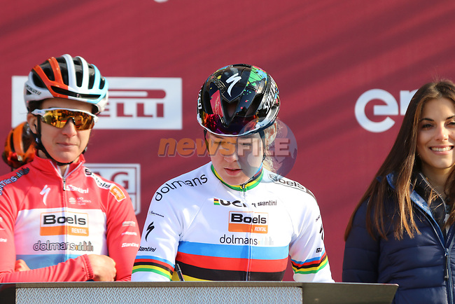 World Champion Anna Van der Breggen (NED) Boels Dolmans at sign on before the Strade Bianche Women Elite 2019 running 133km from Siena to Siena, held over the white gravel roads of Tuscany, Italy. 9th March 2019.<br /> Picture: Seamus Yore | Cyclefile<br /> <br /> <br /> All photos usage must carry mandatory copyright credit (© Cyclefile | Seamus Yore)