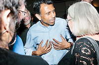 """Republican presidential candidate Bobby Jindal speaks with people after his """"Believe Again"""" campaign event at the Governor's Inn and Restaurant in Rochester, New Hampshire. Jindal is campaigning in New Hampshire in advance of the 2016 Republican presidential primary there."""