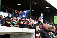 Bristol Bears supporters wave flags in celebration. Gallagher Premiership match, between Leicester Tigers and Bristol Bears on April 27, 2019 at Welford Road in Leicester, England. Photo by: Patrick Khachfe / JMP