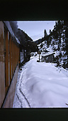 D&amp;SNG Cascade Canyon winter train about to cross Animas Canyon bridge as viewed from the train.<br /> D&amp;S  Animas Canyon, CO
