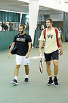 Petros Chrysochos (left) and Borna Gojo of the Wake Forest Demon Deacons take the court for their match in the finals of the 2018 NCAA Men's Tennis Singles Championship at the Wake Forest Indoor Tennis Center on May 28, 2018 in Winston-Salem, North Carolina.  Petros Chrysochos defeated teammate Borna Gojo 6-3 6-3.  (Brian Westerholt/Sports On Film)