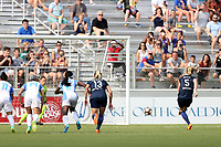 Cary, North Carolina  - Saturday April 29, 2017: Samantha Mewis scores a penalty kick goal during a regular season National Women's Soccer League (NWSL) match between the North Carolina Courage and the Orlando Pride at Sahlen's Stadium at WakeMed Soccer Park.