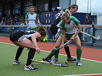 23 June 2013; Nicola Daly, Ireland, in action against Kate Natalie Sourisseau, (left) and Kate Gillis, Canada. Electric Ireland Senior Women's International Friendly, Ireland v Canada, Belfield, Dublin. Picture credit: Tommy Grealy/Actionshots.ie