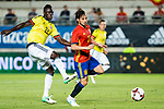 Davison Sanchez of Colombia competes for the ball with David Jimenez Silva of Spain during the friendly match between Spain and Colombia at Nueva Condomina Stadium in Murcia, jun 07, 2017. Spain. (ALTERPHOTOS/Rodrigo Jimenez)