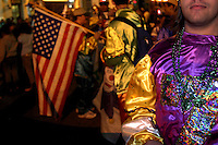 Revelers at a New Orleans Mardi Gras parade celebrate the first Mardi Gras since Hurricane Katrina. (2006)