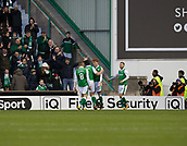 4th November 2017, Easter Road, Edinburgh, Scotland; Scottish Premiership football, Hibernian versus Dundee; Hibernian's Simon Murray is congratulated after scoring by John McGinn