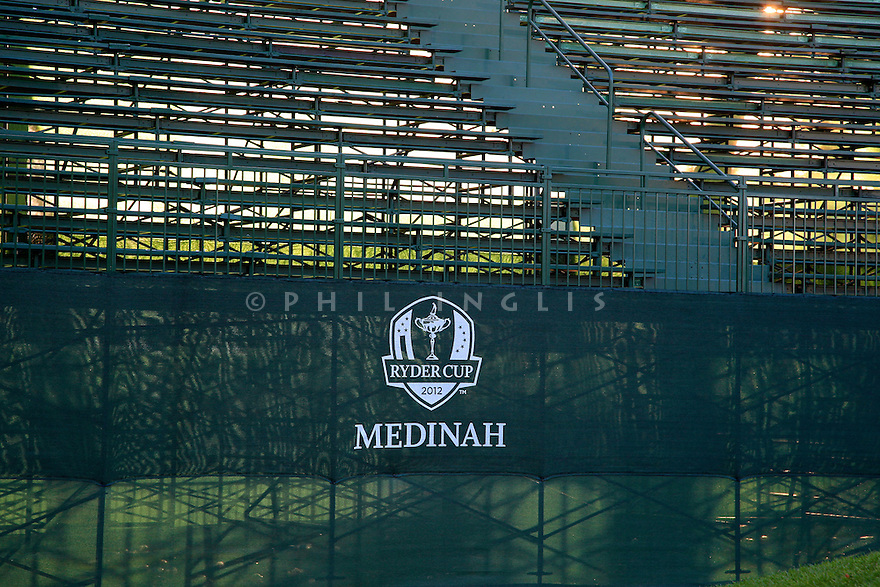Empty grandstand on the 1st tee   during practice thursday of the 39th Ryder Cup matches, Medinah Country Club, Chicago, Illinois, USA.  28-30 September 2012 (Picture Credit / Phil Inglis)