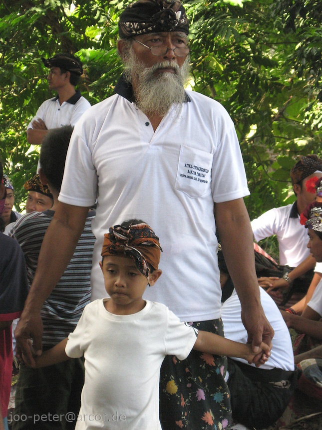 grandfather and child watching cremation ceremonies  in village Mas, Bali, archipelago Indonesia