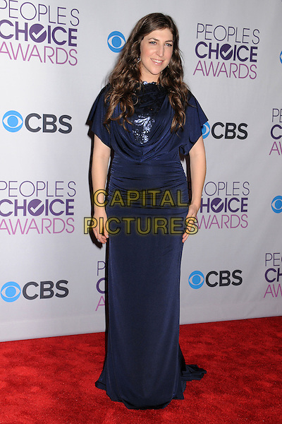 Mayim Bialik.People's Choice Awards 2013 - Press Room held at Nokia Theatre L.A. Live, Los Angeles, California, USA..January 9th, 2013.full length blue dress.CAP/ADM/BP.©Byron Purvis/AdMedia/Capital Pictures.