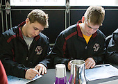 Cam Atkinson (BC - 13), Ben Smith (BC - 12) - The Boston College Eagles signed autographs at Ford Field prior to the Humanitarian and Hobey Baker Award presentations and the 2010 Frozen Four Skills Challenge on Friday, April 9, 2010 in Detroit, Michigan.
