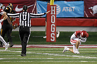 Arkansas Democrat-Gazette/THOMAS METTHE -- 11/29/2019 --<br /> Arkansas quarterback Ben Hicks (6) reacts after a fourth down incompletion on the Razorbacks final drive during the fourth quarter of the Razorbacks' 24-14 loss to Missouri on Friday, Nov. 29, 2019, at War Memorial Stadium in Little Rock.