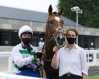 Winner of The Federation Of Bloodstock Agents Novice Stake  Sidereal ridden by Oisin Murphy and trained by Andrew Balding in the Winners enclosure during Horse Racing at Salisbury Racecourse on 13th August 2020