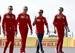 11.07.2019, Silverstone Circuit, Silverstone, FORMULA 1 ROLEX BRITISH GRAND PRIX 2019<br /> , im Bild<br />Sebastian Vettel (GER#5), Scuderia Ferrari Mission Winnow geht mit seinen Ingenieuren über die Strecke<br /> <br /> Foto © nordphoto / Bratic