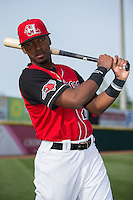 Yeyson Yrizarri (2) of the Hickory Crawdads poses for a photo prior to the game against the Lexington Legends at L.P. Frans Stadium on April 29, 2016 in Hickory, North Carolina.  The Crawdads defeated the Legends 6-2.  (Brian Westerholt/Four Seam Images)