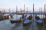 Gondolas moored in Venice, Italy.