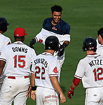 Photo of the Greenville Drive in a game against the Rome Braves on Sunday, August 13, 2017, at Fluor Field at the West End in Greenville, South Carolina. Greenville won, 2-1. (Tom Priddy/Four Seam Images)