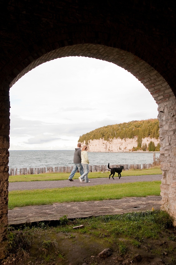 Visitors enjoy solitude at the Fayette State Historical Park near Garden Michigan.