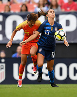 Cleveland, Ohio - Tuesday June 12, 2018: Lou Jiahui, Alex Morgan during an international friendly match between the women's national teams of the United States (USA) and China PR (CHN) at FirstEnergy Stadium.