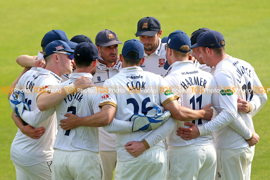 Essex players huddle during Essex CCC vs Yorkshire CCC, Specsavers County Championship Division 1 Cricket at The Cloudfm County Ground on 4th May 2018