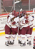 Kenzie Kent (BC - 12), Grace Bizal (BC - 2), Haley Skarupa (BC - 22), Lexi Bender (BC - 21) - The Boston College Eagles defeated the Northeastern University Huskies 5-1 (EN) in their NCAA Quarterfinal on Saturday, March 12, 2016, at Kelley Rink in Conte Forum in Boston, Massachusetts.