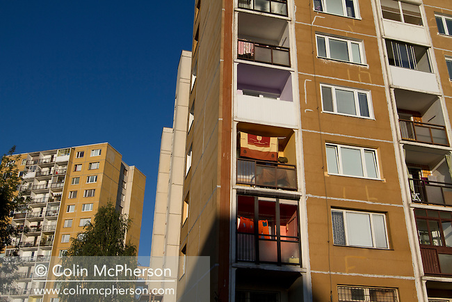 A tower block of residential apartments in the city of Kosice, in the Slovak Republic, built during the communist era. The city, which lies in eastern Slovakia is the country's second largest after Bratislava and has been announced as European Capital of Culture in 2013, along with Marseille, France. Kosice was the seat of the Kosice Region, home to the Slovak Constitutional Court, three universities and many museums, galleries and theaters as well as an important industrial center.
