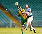 13/09/2014<br /> David Dempsey of Na Piarsaigh collides with Ballybrown keeper Evan Loftus in the Round 5 of the Limerick Senior Hurling Championship match which took place at the Gaelic Grounds, Limerick.<br /> Pic: Don Moloney/Press 22