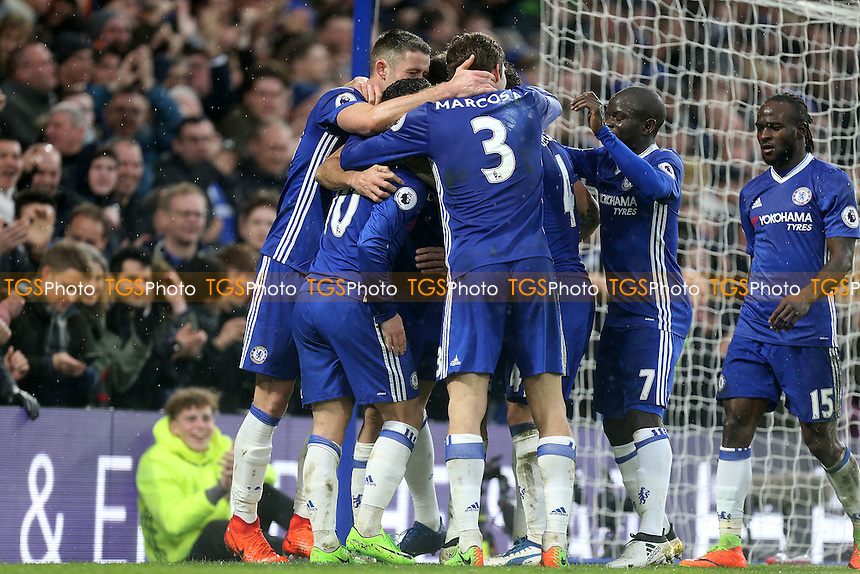 Diego Costa of Chelsea is congratulated after scoring the third goal during Chelsea vs Swansea City, Premier League Football at Stamford Bridge on 25th February 2017