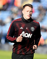 Manchester United's Phil Jones during the pre-match warm-up <br /> <br /> Photographer Hannah Fountain/CameraSport<br /> <br /> The Premier League - Leicester City v Manchester United - Sunday 3rd February 2019 - King Power Stadium - Leicester<br /> <br /> World Copyright © 2019 CameraSport. All rights reserved. 43 Linden Ave. Countesthorpe. Leicester. England. LE8 5PG - Tel: +44 (0) 116 277 4147 - admin@camerasport.com - www.camerasport.com