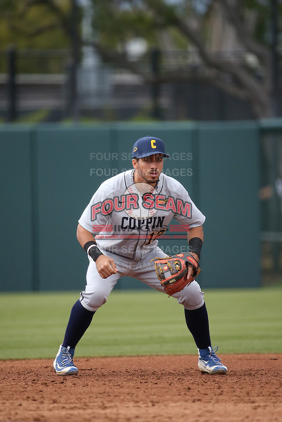 Bryant Miranda #12 of the Coppin State Eagles during a game against the Southern California Trojans at Dedeaux Field on February 18, 2017 in Los Angeles, California. Southern California defeated Coppin State, 22-2. (Larry Goren/Four Seam Images)
