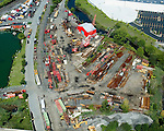 Aerial view of Steel Crane yard
