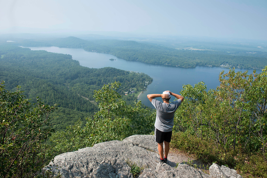 Hiking to take in the view of Lake Dunmore from Rattlesnake Cliffs Lookout in the Moosalamoo National Recreation Area in Salisbury, Vermont.