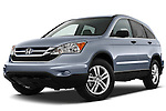 Low aggressive front three quarter view of a 2010 Honda CRV EX.