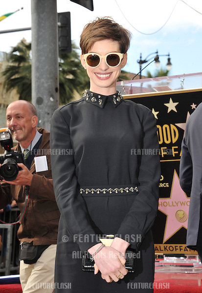 Actress Anne Hathaway on Hollywood Blvd where actor Hugh Jackman was honored with the 2,487th star on the Hollywood Walk of Fame..December 13, 2012  Los Angeles, CA.Picture: Paul Smith / Featureflash