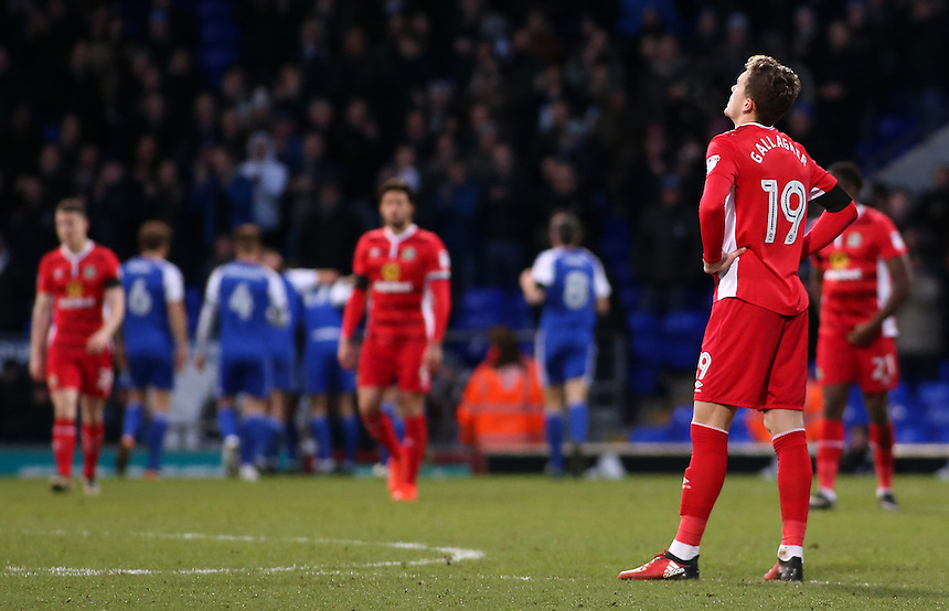Blackburn Rovers' Sam Gallagher shows his dejection after his side go 3-1 behind<br /> <br /> Photographer David Shipman/CameraSport<br /> <br /> The EFL Sky Bet Championship - Ipswich Town v Blackburn Rovers - Saturday 14th January 2017 - Portman Road - Ipswich<br /> <br /> World Copyright &copy; 2017 CameraSport. All rights reserved. 43 Linden Ave. Countesthorpe. Leicester. England. LE8 5PG - Tel: +44 (0) 116 277 4147 - admin@camerasport.com - www.camerasport.com