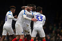 Oliver Hawkins of Portsmouth is congratulated after scoring the third goal during Southend United vs Portsmouth, Sky Bet EFL League 1 Football at Roots Hall on 16th February 2019