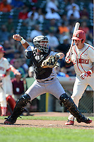Catcher Tim Susnara (2) of St. Francis High School in Redwood City, California throws down to second in front of Chase Vallot during the Under Armour All-American Game on August 24, 2013 at Wrigley Field in Chicago, Illinois.  (Mike Janes/Four Seam Images)